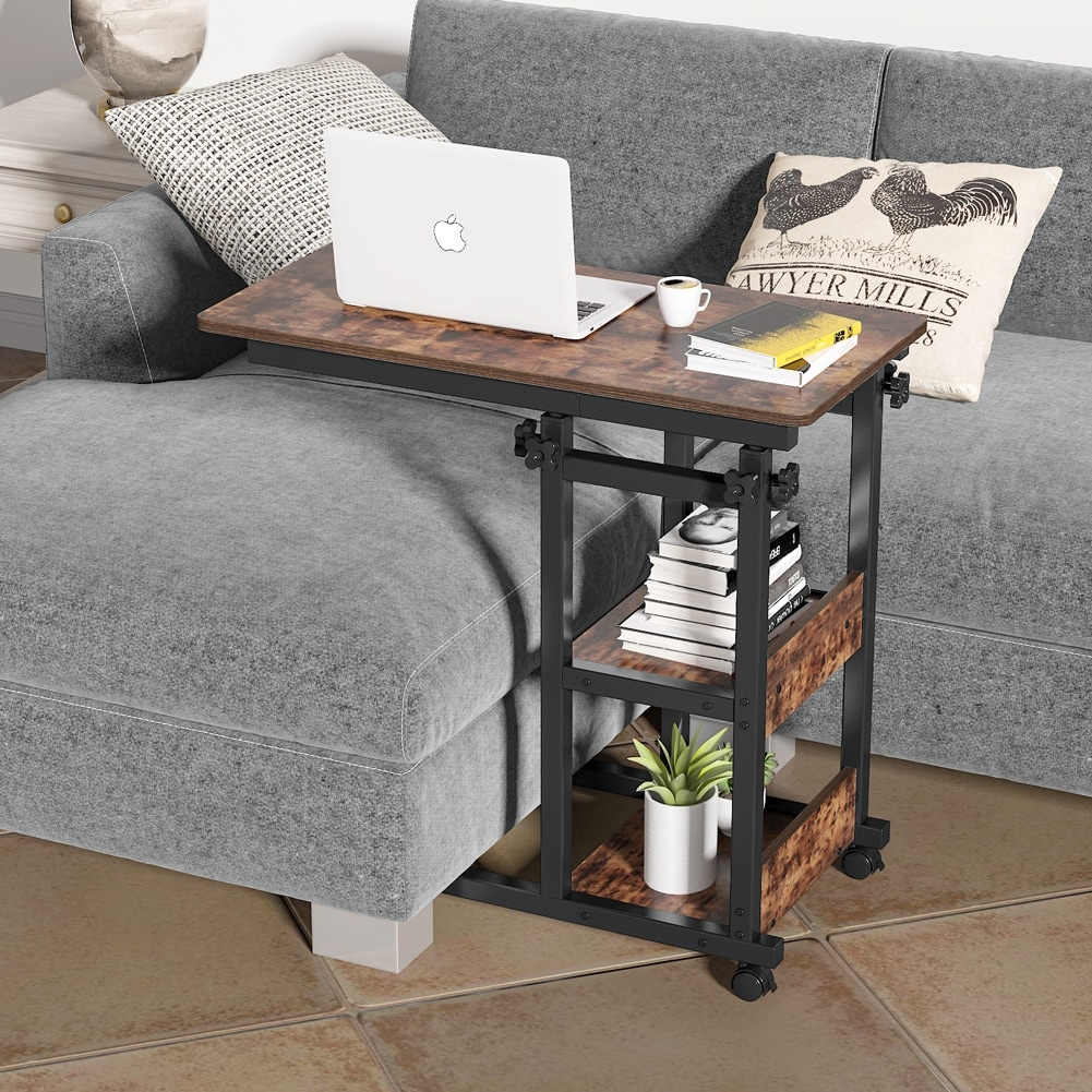 Tribesigns Sofa Side Table with Storage Shelves, Mobile C Table ...