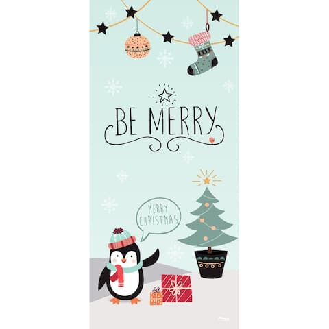 """80"""" x 36"""" Black and White Penguins Merry Christmas Front Door Banner Mural Sign Decoration"""