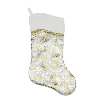 """20"""" Two-Toned Metallic Silver and Gold Flourish Christmas Stocking with Wavy White Cuff"""