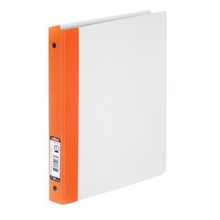 Storex Flex-Color Plastic Poly Heavy Duty O-Ring Binder with Stripe, 1 in, 200 Sheets, Orange