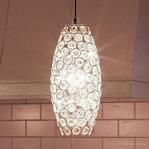 "Luxury Crystal LED Pendant Light, 11""H x 4""W, with Modern Style, Polished Chrome Finish - 4"