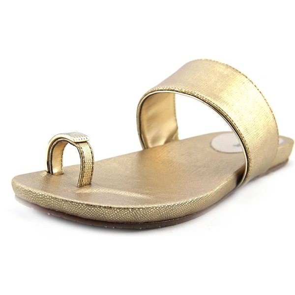 Alfani Bague Women Open Toe Synthetic Gold Slides Sandal