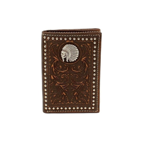 Ariat Western Wallet Mens Trifold Indian Chief Skull Brown - One size
