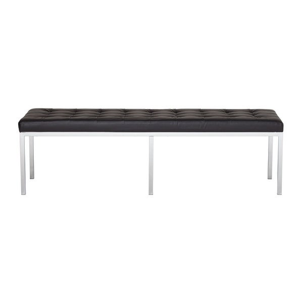 """Offex Lintel 60"""" Bench Bonded Leather - Black"""