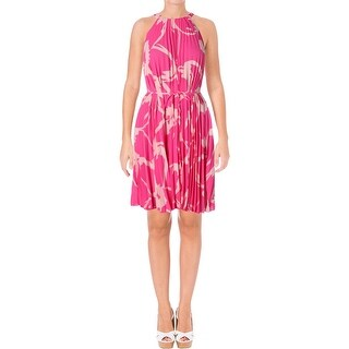 Vince Camuto Womens Petites Cocktail Dress Chiffon Pleated