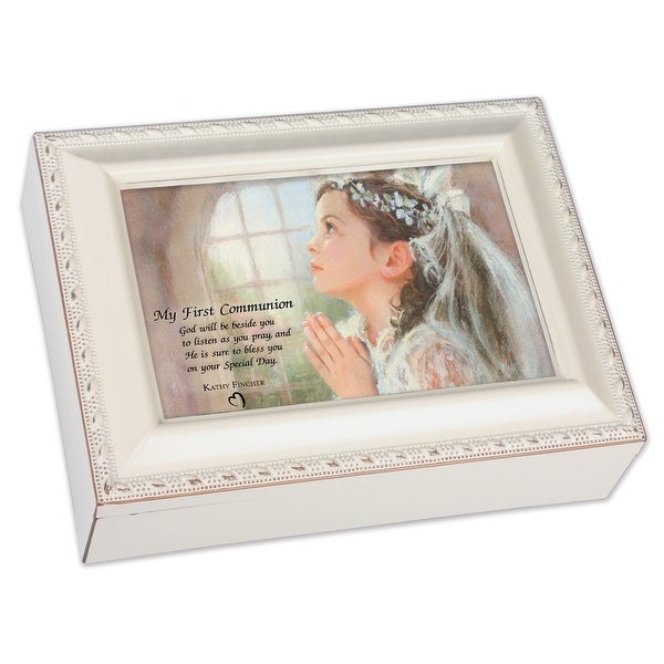"""6"""" Ivory First Holy Communion Girl Music Box - N/A"""
