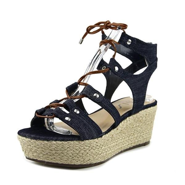 Unisa Brilee Women Open Toe Canvas Blue Wedge Sandal