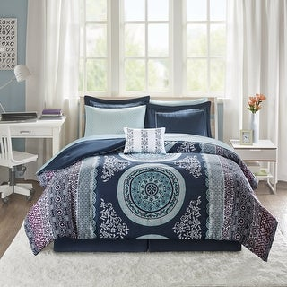 Link to Eleni Navy Medallion Reversible Comforter and Sheet Set by Intelligent Design Similar Items in Comforter Sets