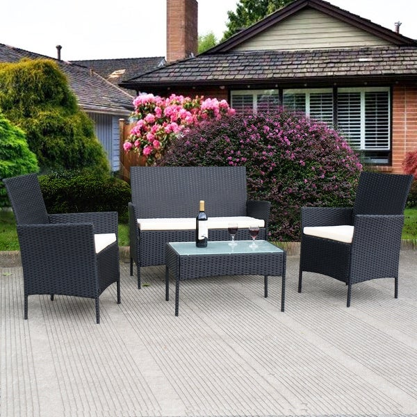 Costway 4 PC Outdoor Rattan Furniture Set Loveseat Sofa Cushioned