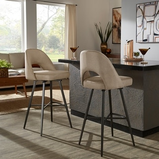 Link to Presley Metal Fabric Swivel Bar Stools (Set of 2) by iNSPIRE Q Modern Similar Items in Dining Room & Bar Furniture