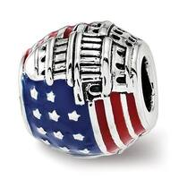 Sterling Silver Reflections Enameled American Flag Bead (4.5mm Diameter Hole)