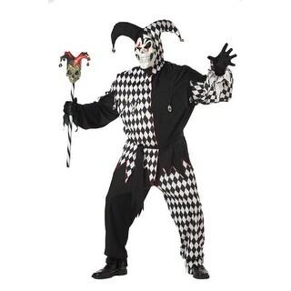 Adult Black/White Evil Jester Big & Tall Costume 48-52 Plus - big & tall