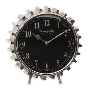 """9.75"""" Industrial Urban Mechanical Gear Tooth Black and Silver Desk Clock"""