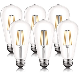 Link to Luxrite Vintage LED Edison Bulb 60W Equivalent, ST19 ST58, 2700K Warm White, 550 Lumens, Dimmable, E26 Base (6 Pack) Similar Items in Light Bulbs