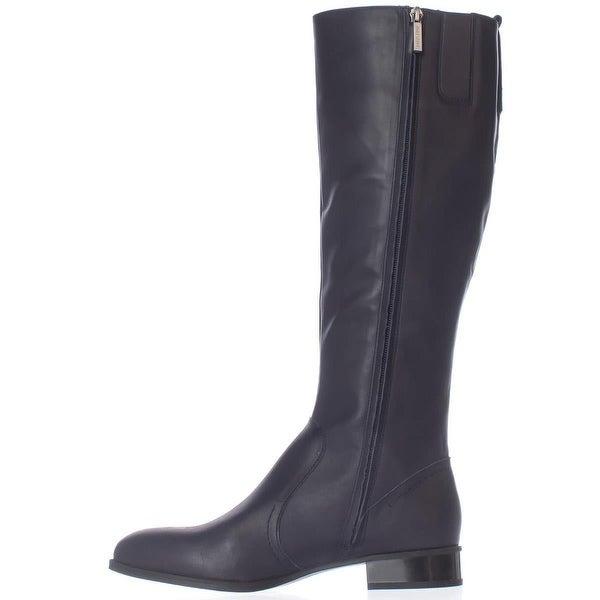 Nine West Womens Nicolah Leather Pointed Toe Knee High Fashion, Black, Size 6.0