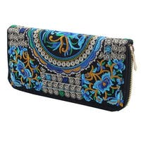 Women Embroidered Flower Design Zipper Money Coin Wallet Purse 19.5 x 10 x 3cm