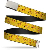 Blank Chrome Buckle Pikachu Stacked Webbing Web Belt