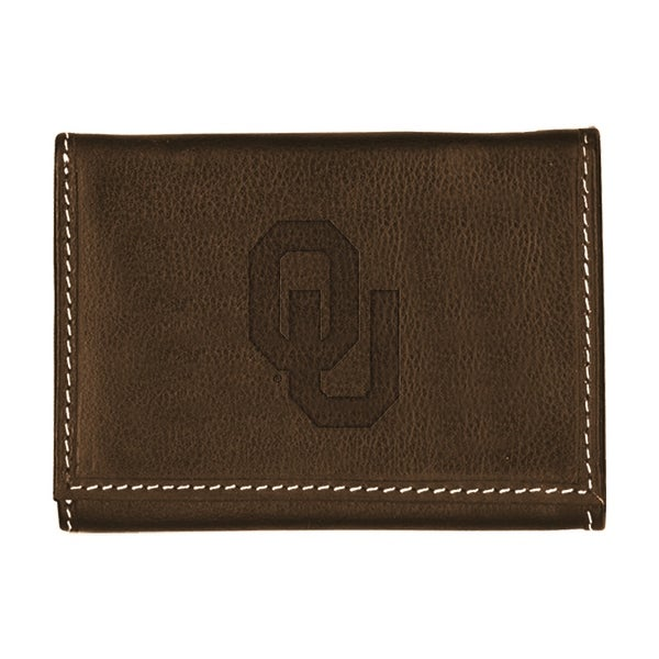 University of Oklahoma Contrast Stitch Trifold Leather Wallet