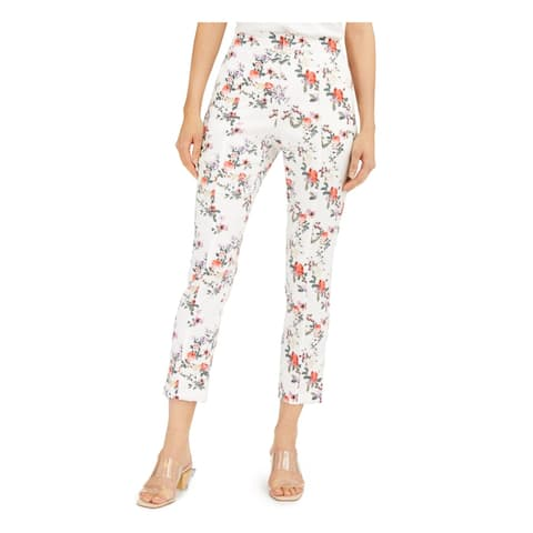INC Womens White Floral Skinny Pants Size 16