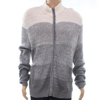 Alfani Gray Vanilla Mens Size XL Ombre Colorblock Full Zip Sweater