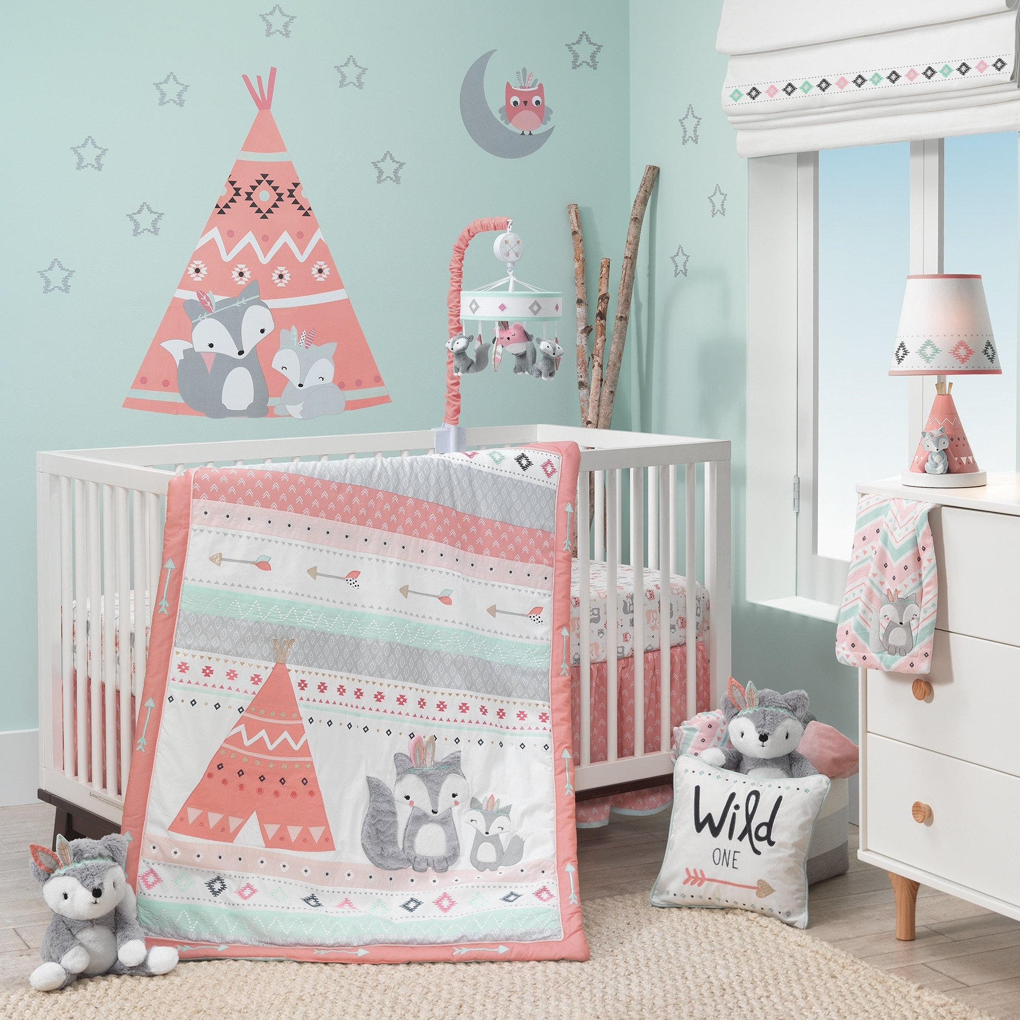 Lambs Ivy Little Spirit Coral Mint Gray Southwest Fox Teepee Nursery 3 Piece Baby Crib Bedding Set On Sale Overstock 23500189