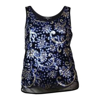 Karen Kane Women's Sequined Mesh Scoop Neck Tank Blouse - Black/Blue