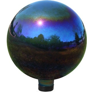 Sunnydaze 10-Inch Glass Gazing Globe Ball with Mirrored Finish, Color Options Available