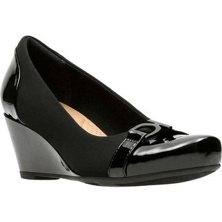 Clarks Women's Flores Poppy Wedge Black Textile/Synthetic Combination