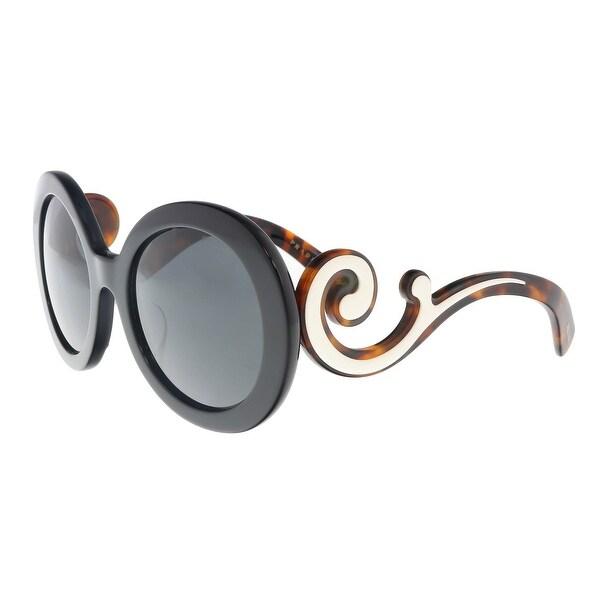 52dfbde9ba Shop Prada PR 08TSF 1AB1A1 Black Round Sunglasses - 55-22-135 - Free ...