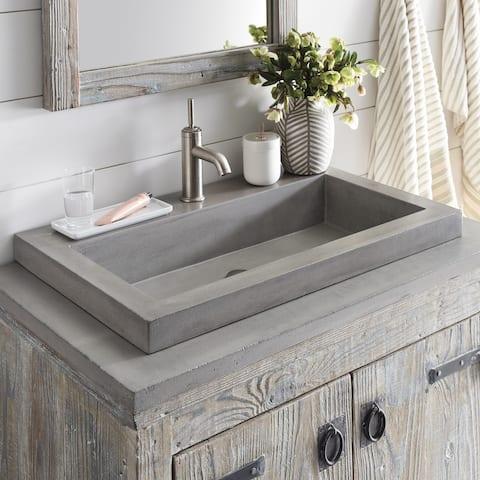 "30"" NativeStone Trough Drop-in Rectangular Bathroom Sink - 30x19x5.5"