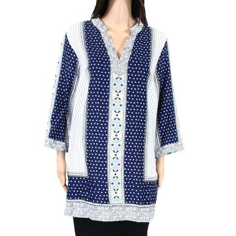 Foxcroft Womens Peasant Top Blue 14W Plus Split-Neck Border Print Tunic