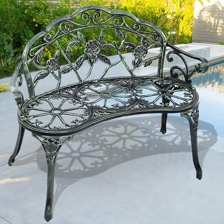 Costway Patio Garden Bench Chair Style Porch Cast Aluminum Outdoor Rose Antique Green