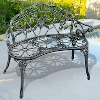 Costway Patio Garden Bench Chair Style Porch Cast Aluminum Outdoor Rose Antique Green