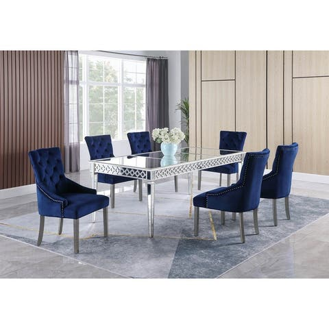Best Master Furniture 7 Pieces Silver Mirrored Dining Set
