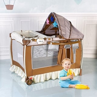 Costway Foldable Baby Crib Playpen Infant Bassinet Bed Multifunction W Bag Toy Music Box