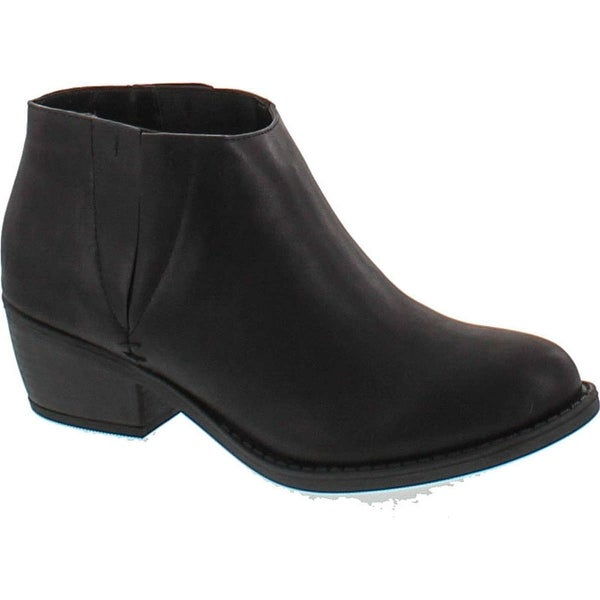 Soda Women's Zoie Faux Leather Round Toe Elastic Panel Ankle Boot Low Heel