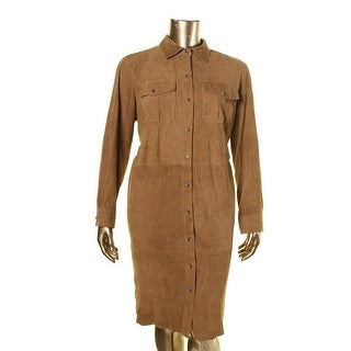 Lauren Ralph Lauren Womens Plus Suede Long Sleeves Shirtdress - 18W