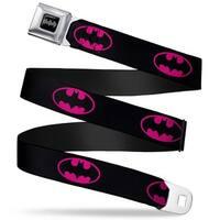 Batman Black Silver Batman Shield Black Fluorescent Hot Pink Webbing Seatbelt Belt