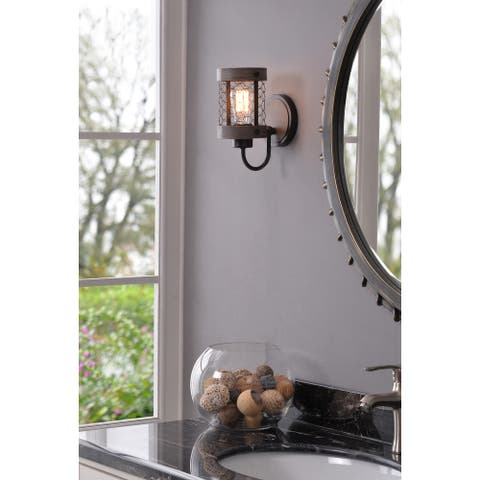 Grayson 1 Light Sconce - Wood and Oil Rubbed Bronze