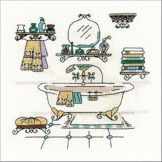 "Riolis Counted Cross Stitch Kit 6""X6""-Bathroom Interior (18 Count)"