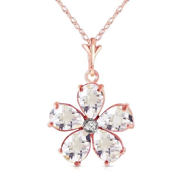 2.22 Carat 14K Soild Gold Natural Rose Topaz & Diamond Necklace. Opens flyout.