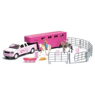 B2BReplicas New Ray - Valley Ranch Pickup & Horse Trailer, Pink