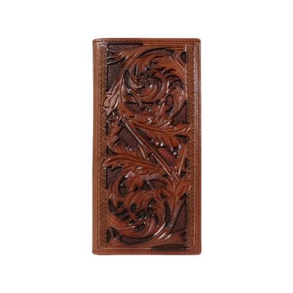 """HOOey Western Wallet Mens Rodeo Signature Sienna Leaf Brown - 3 1/2"""" x 3/4"""" x 7"""""""