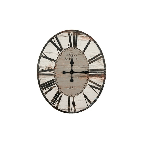 "29"" Oval Distressed Wood Wall Clock. Opens flyout."