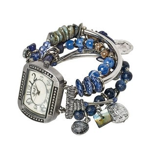 Women's Wrist Watch - Five-Strand Band with Silver Charms & Beads