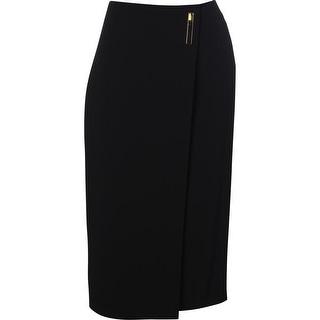 Calvin Klein Womens Faux Wrap Below Knee Pencil Skirt