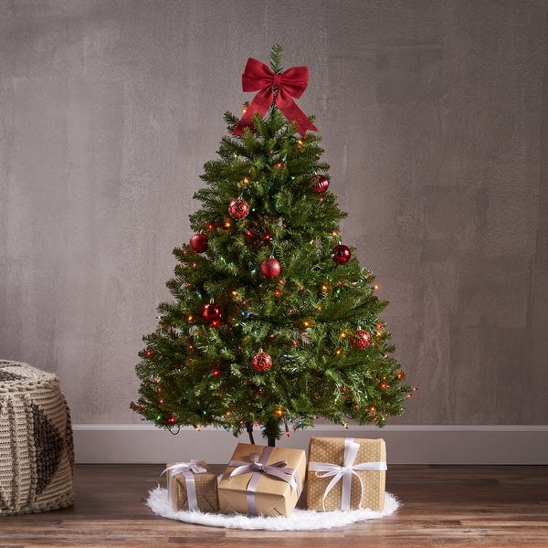 4.5-foot Fraser Fir Pre-Lit Clear String Light or Unlit Hinged Artificial Christmas Tree by Christopher Knight Home. Opens flyout.