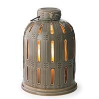 "10.75"" Decorative Laurel Green Finch Birdcage Ceramic Candle Warmer Lantern"