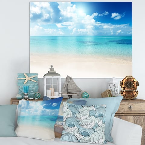 Sand of Beach in Blue Caribbean Sea - Modern Seascape Canvas Artwork Print