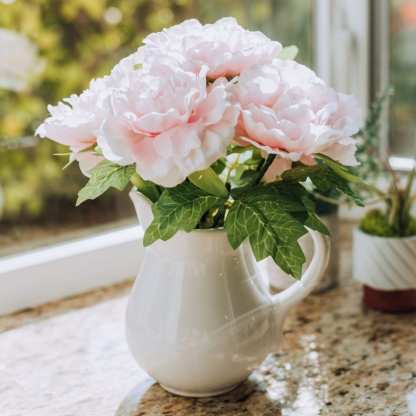 """11.5"""" TALL White PEONY IN CERAMIC Vase - ONE-SIZE. Opens flyout."""
